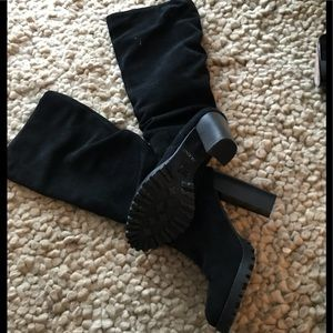 NEW: ALDO Suede Slouch/ Stacked Heel  Boots